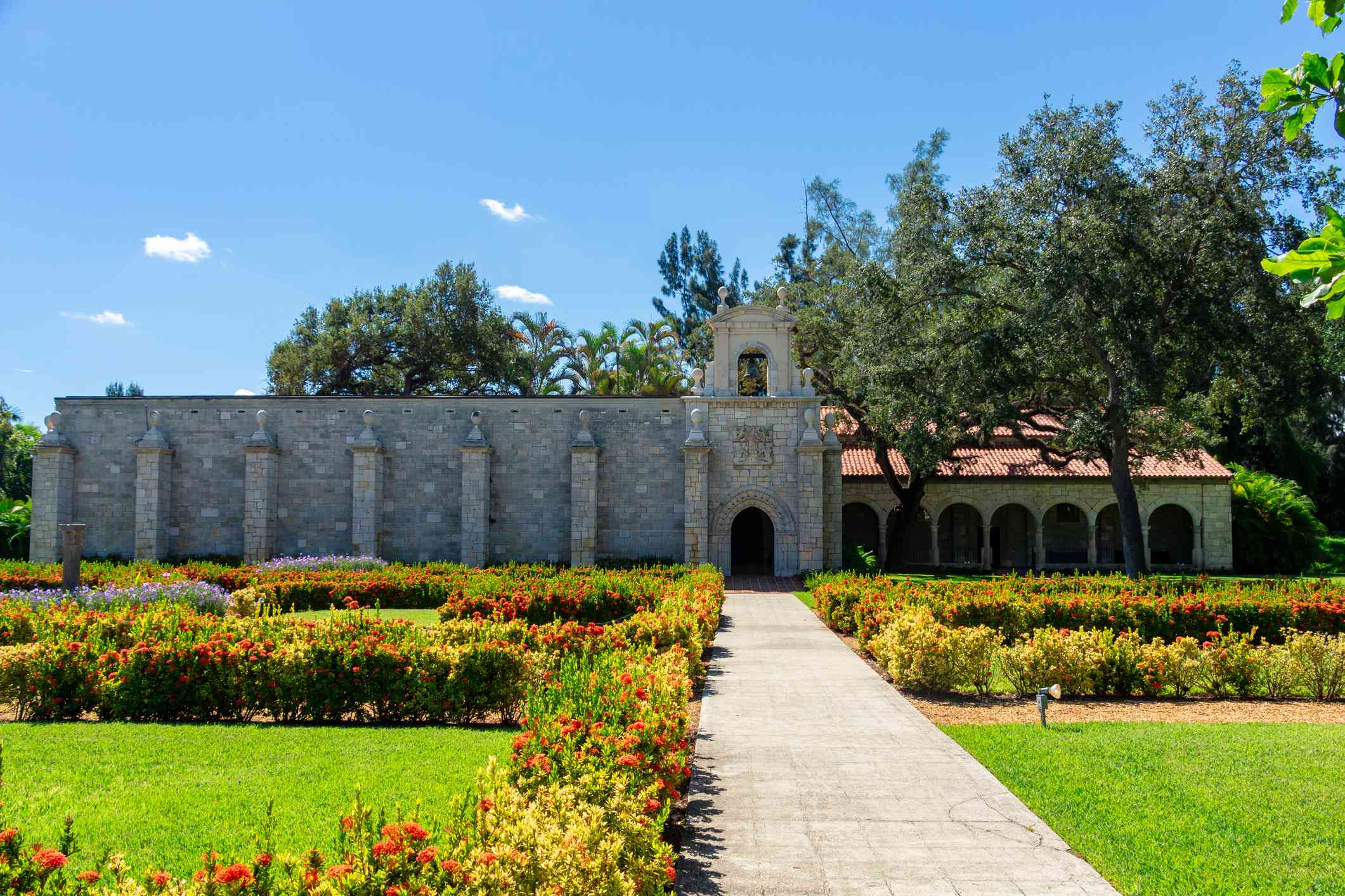 The exterior of a 12th century Spanish monastery. This building was disassembled, brought from Spain to Florida, and reassembled stone by stone