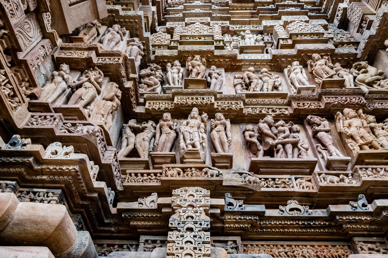 Intricate carvings inside the Khajuraho Temple
