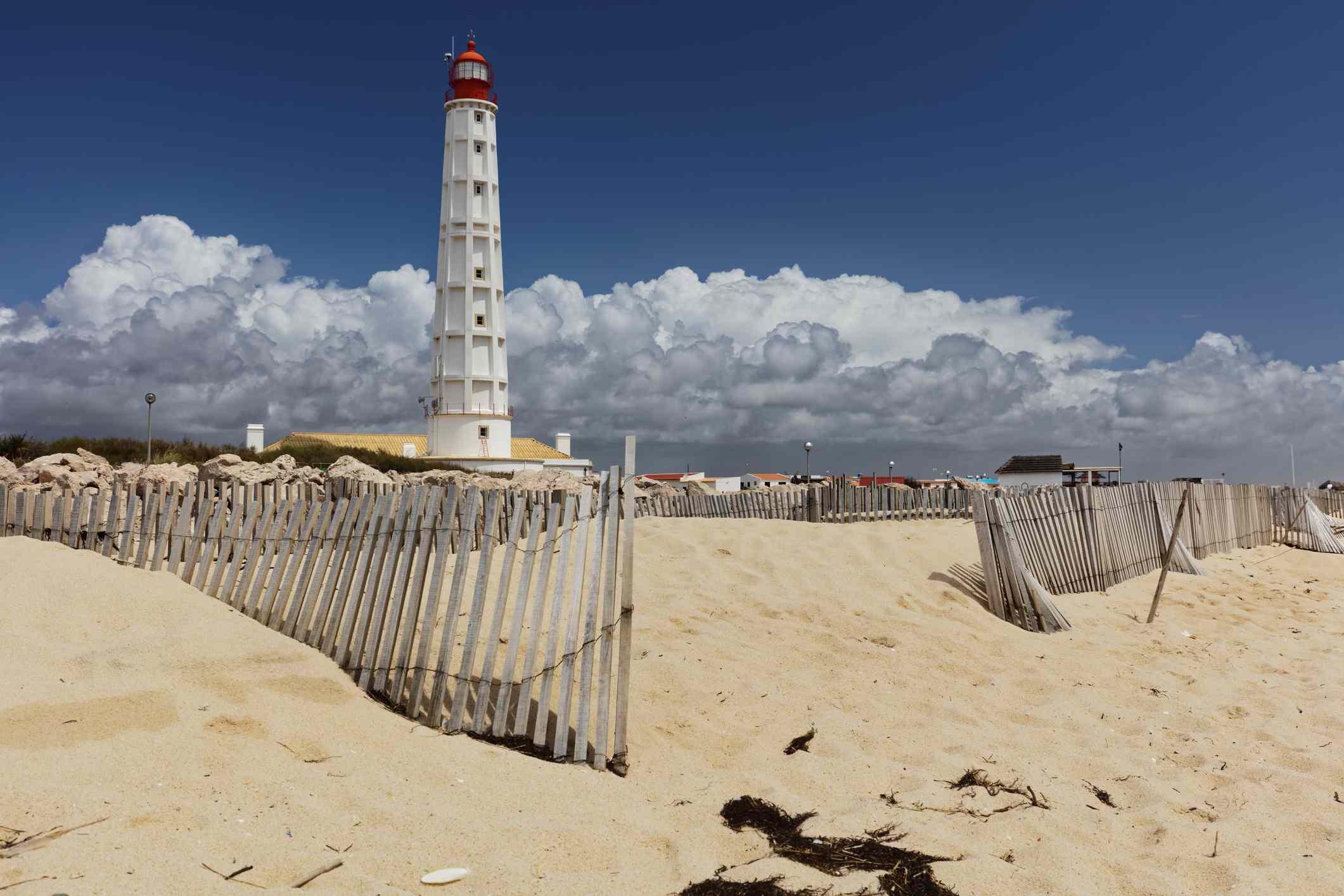 Lighthouse on Culatra Island in Ria Formosa, Portugal