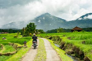 A man riding a motorbike through the countryside of Bali