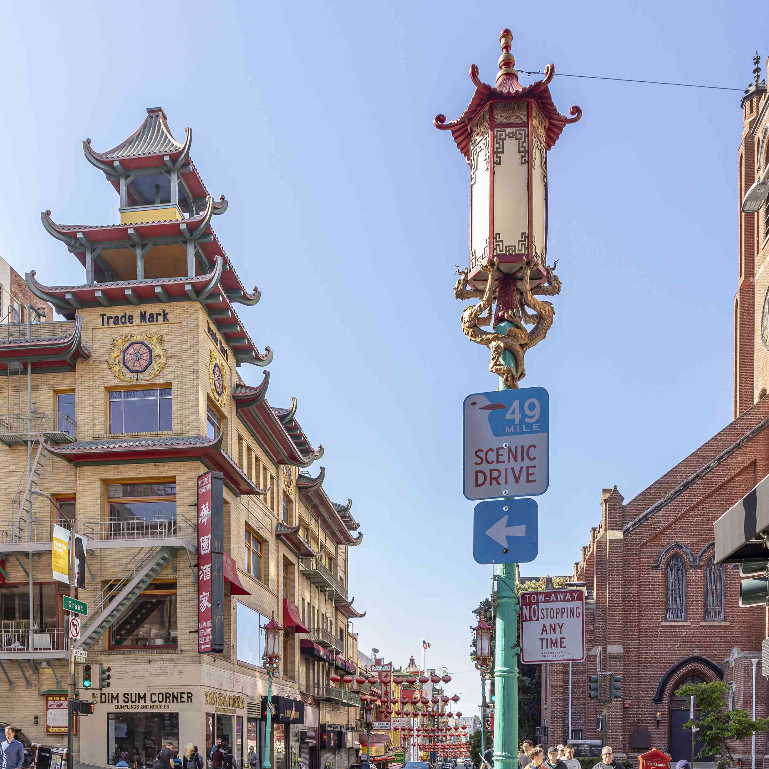 A decorative lamp post in Chinatown