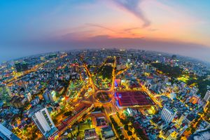 Aerial view of Ho Chi Minh city skyline at dawn