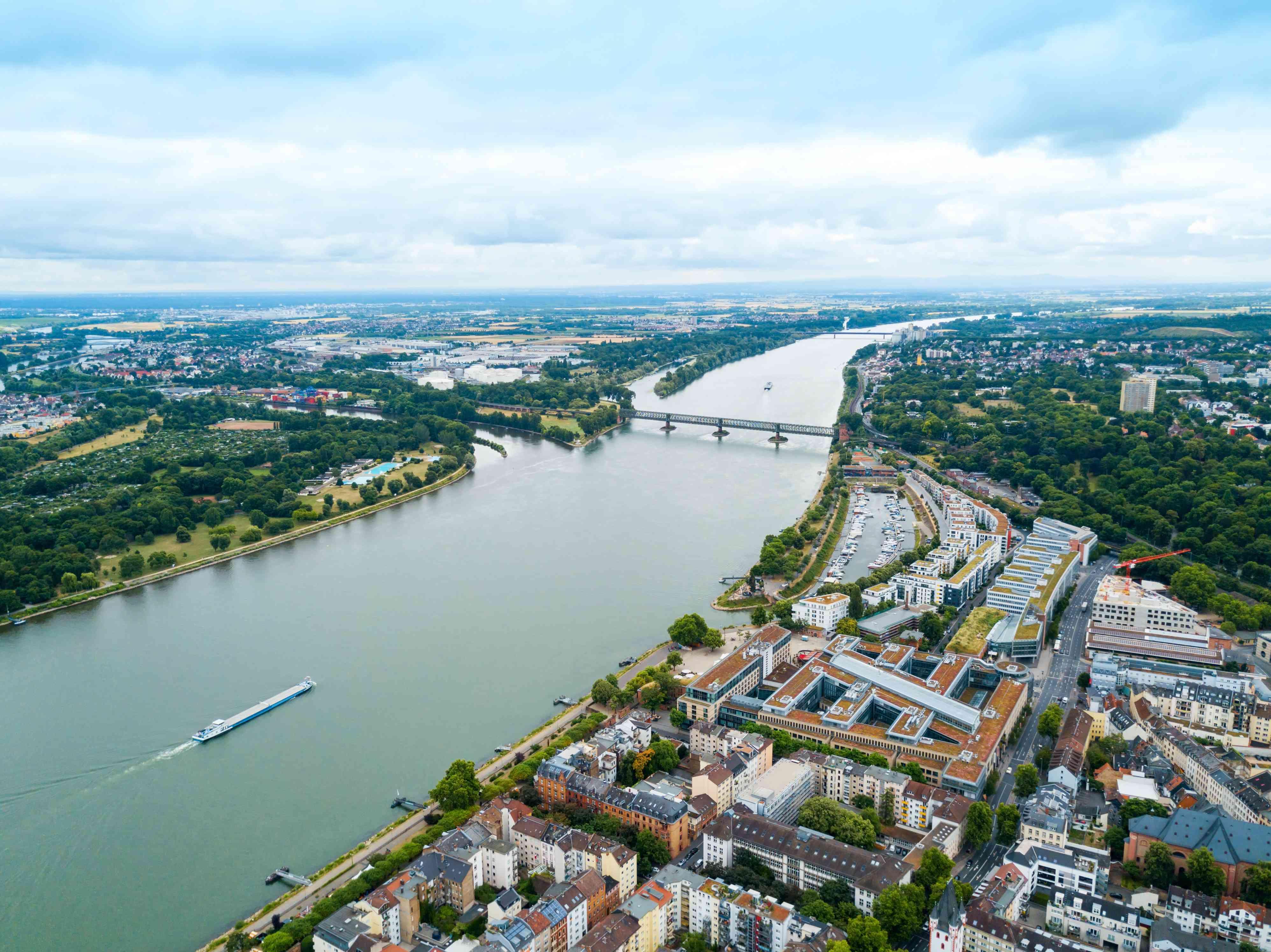 Rhine river in Mainz aerial panoramic view
