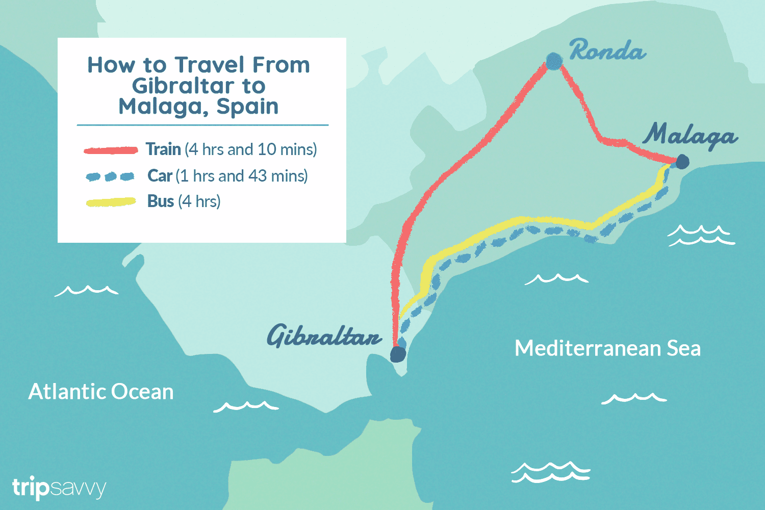 Map Of Spain Showing Malaga.How To Travel From Gibraltar To Malaga