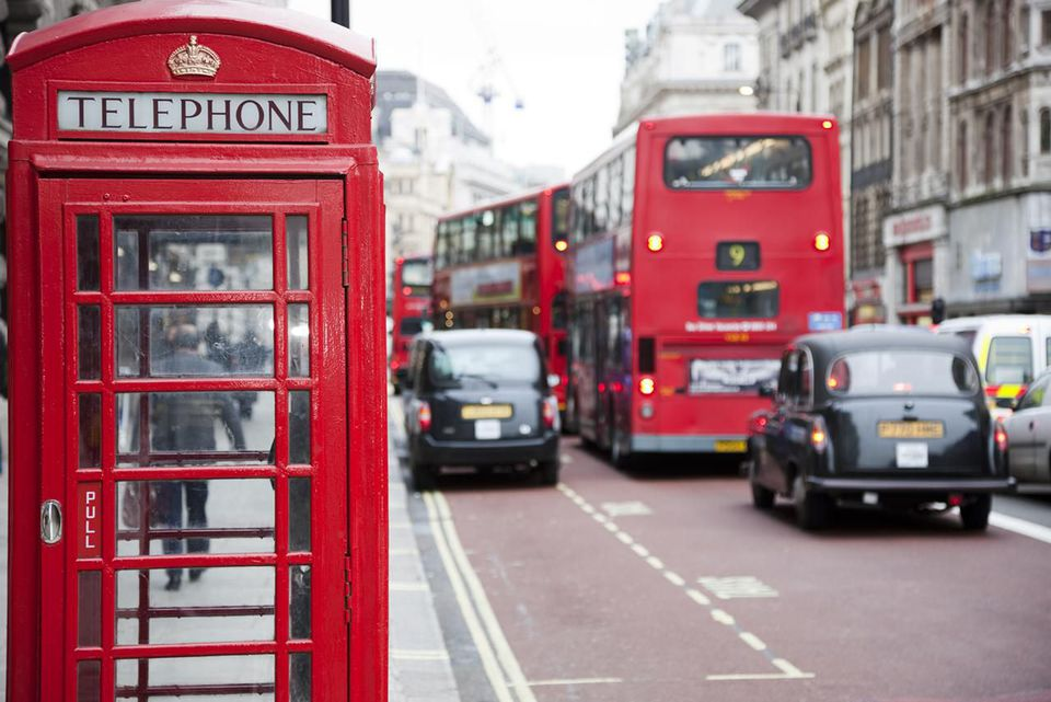 London Telephone Box, Taxis and Double Decker Bus