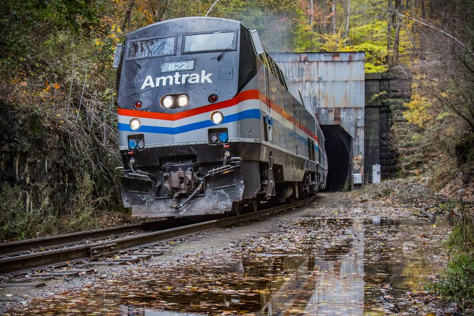 Amtrak's Autumn Express train exits the Hoosac Tunnel in North Adams, Massachusetttes
