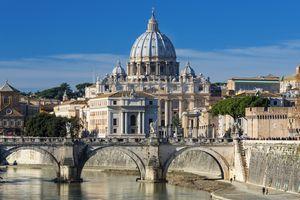 St. Peter's Basilica seen over river Tiber