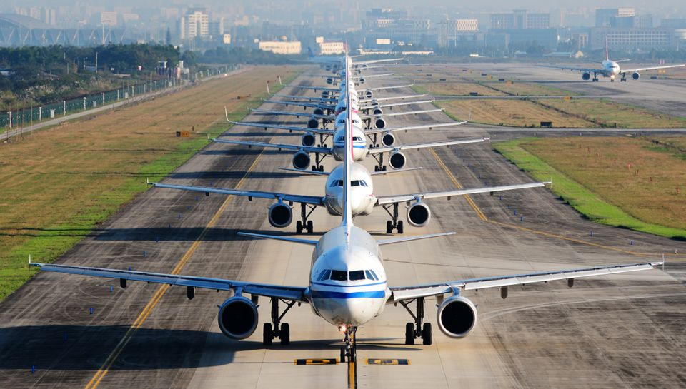 Airplanes in line on the runway waiting for take off, chengdu, sichuan, China