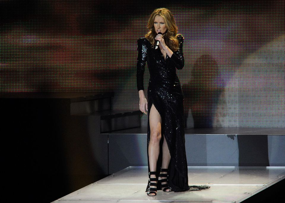 Singer Celine Dion performs during her show at The Colosseum at Caesars Palace in Las Vegas