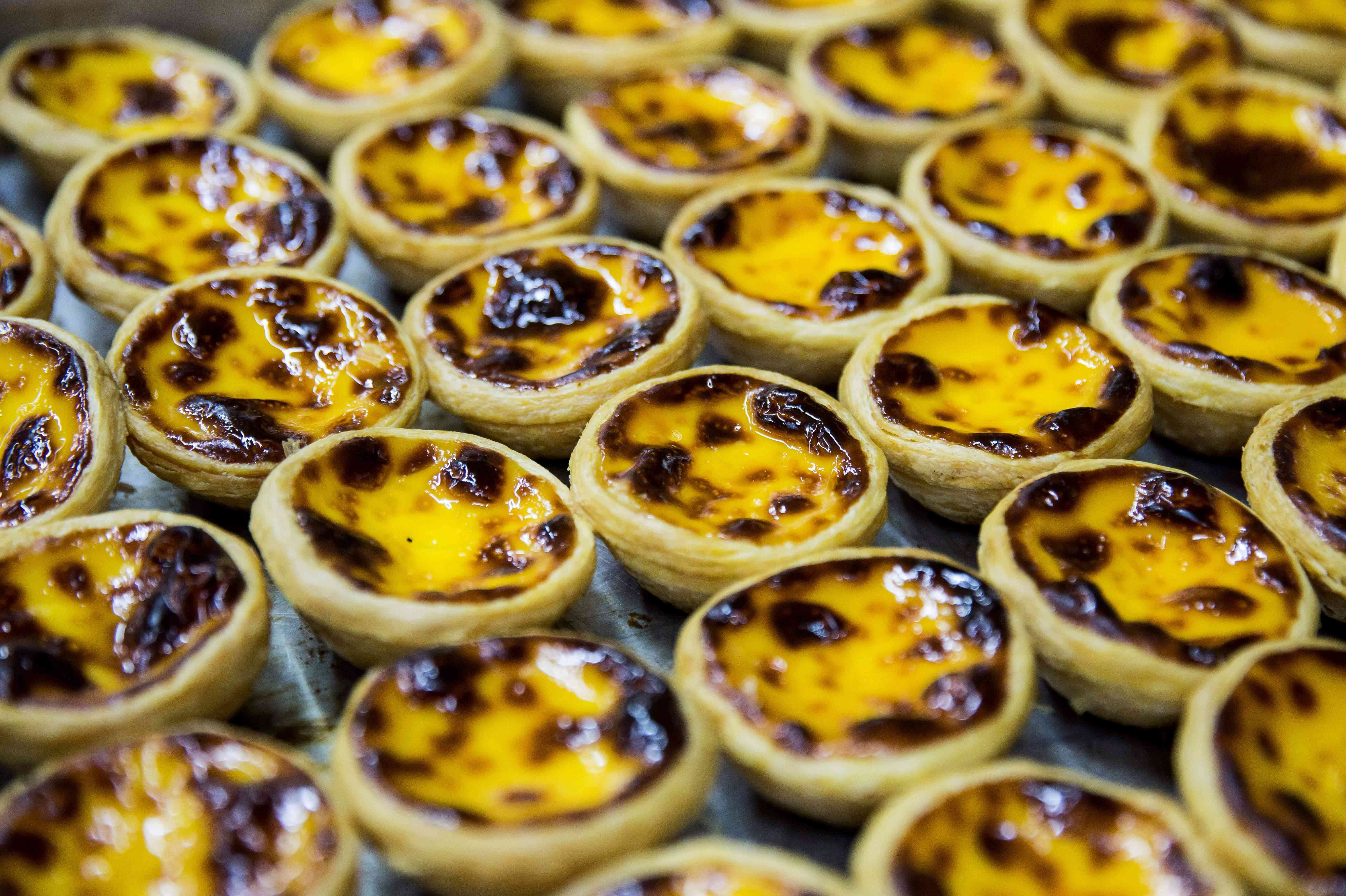 freshly baked egg tarts at Lord Stow's bakery in Macau