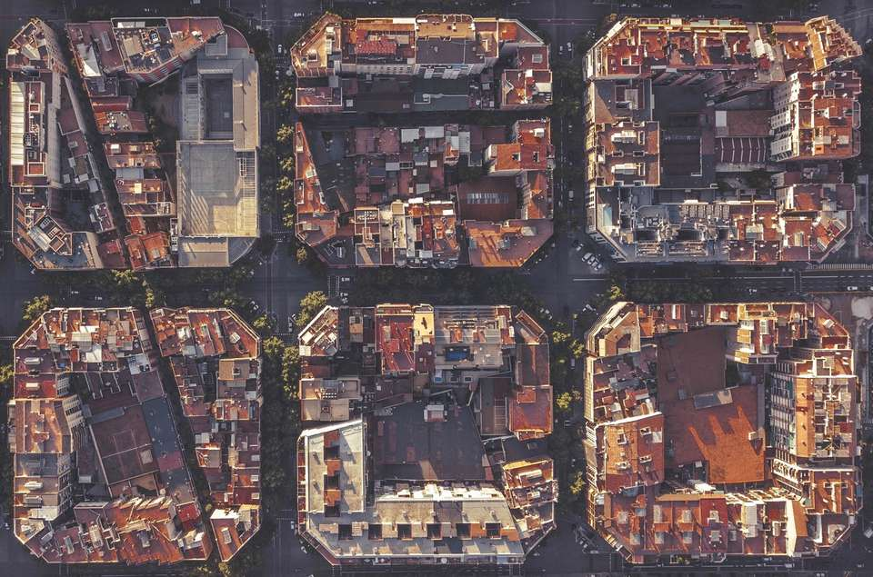 Bird's eye view of a neighborhood in Barcelona, Spain