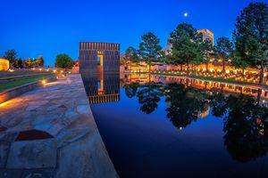 Oklahoma City National Memorial at night, Oklahoma City, Oklahoma, USA