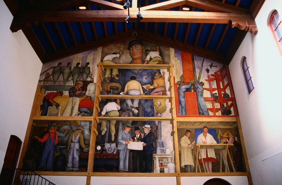 Mural on the wall of the Diego Rivera Gallery on the Art Institute campus in Russian Hill