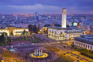 Aerial view of Place Mohammed V in Casablanca at dusk