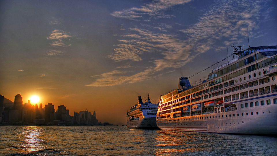 cruise ships at sunset