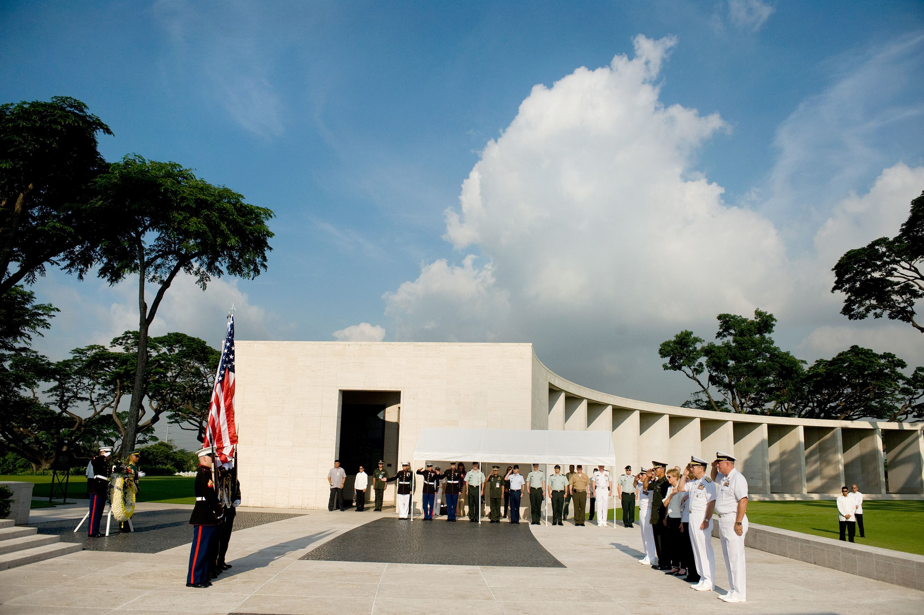 Memorial ceremony in honor of servicemembers buried at the Manila American Cemetery, Philippines.