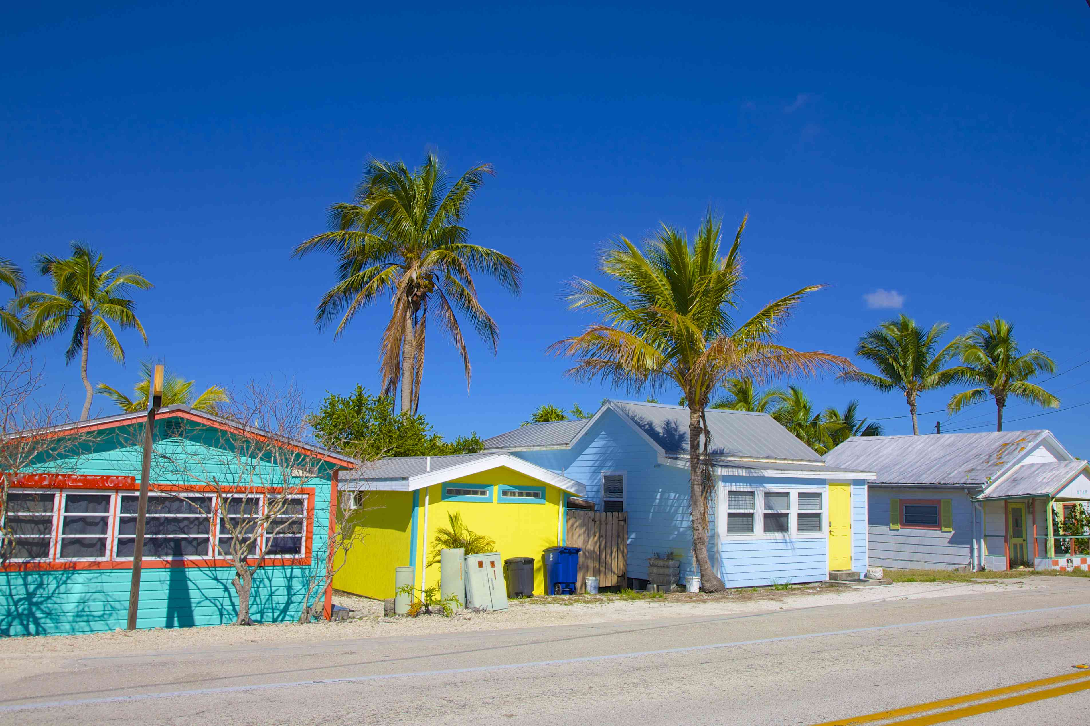 Colorful homes, motels and small businesses on Pine Island Road in Matlacha and Pine Island, near Ft. Myer