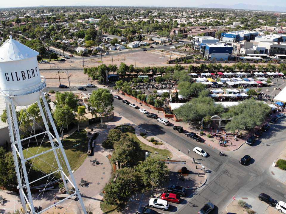Looking down on the lot where the farmer's market is held