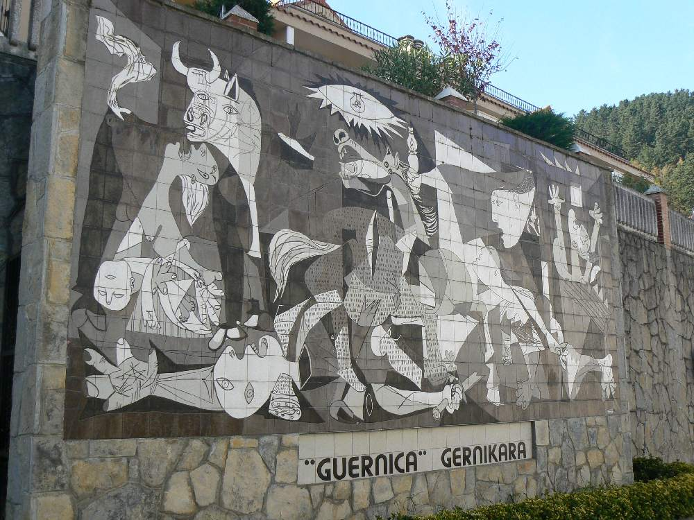 The Guernica painting as a mural in the town of the same name