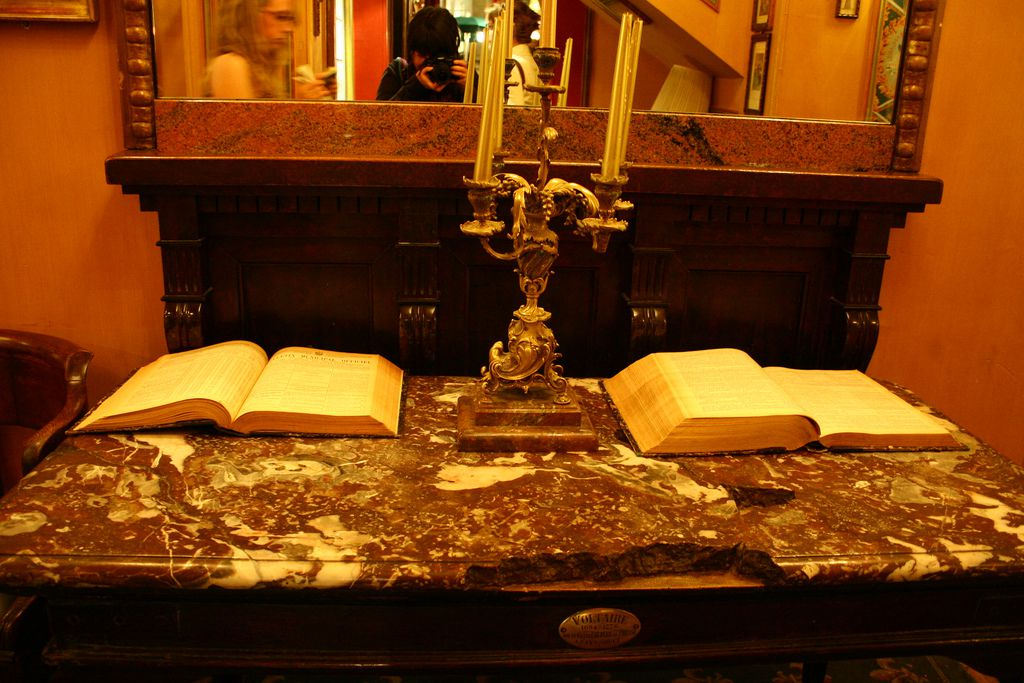 Voltaire's desk at Cafe Procope