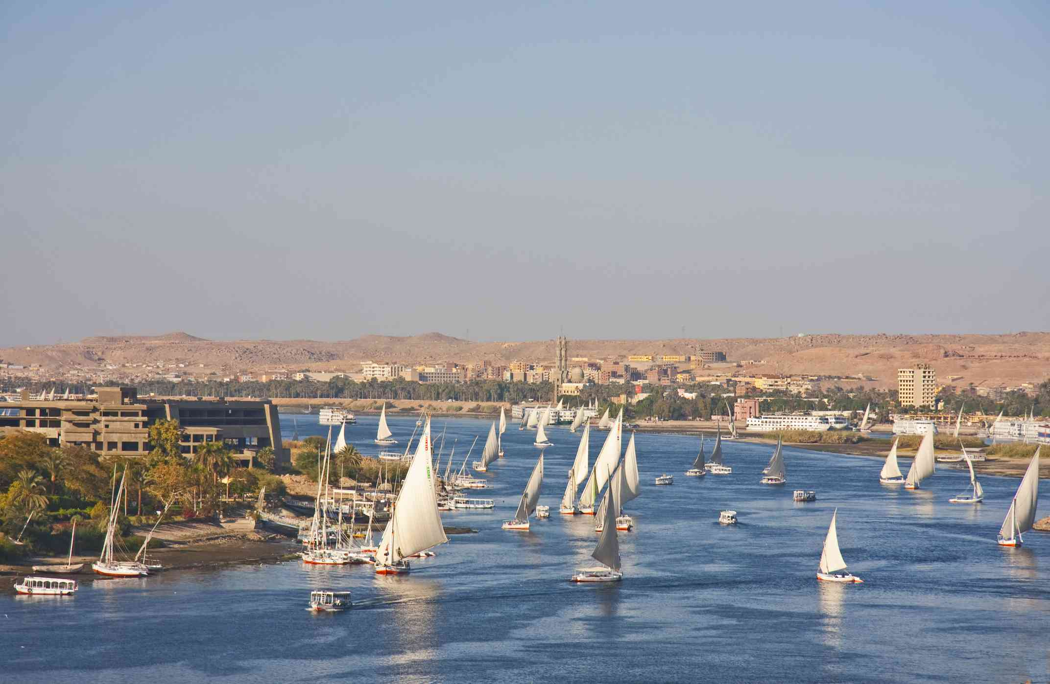 Boats sailing on the River Nile, Aswan