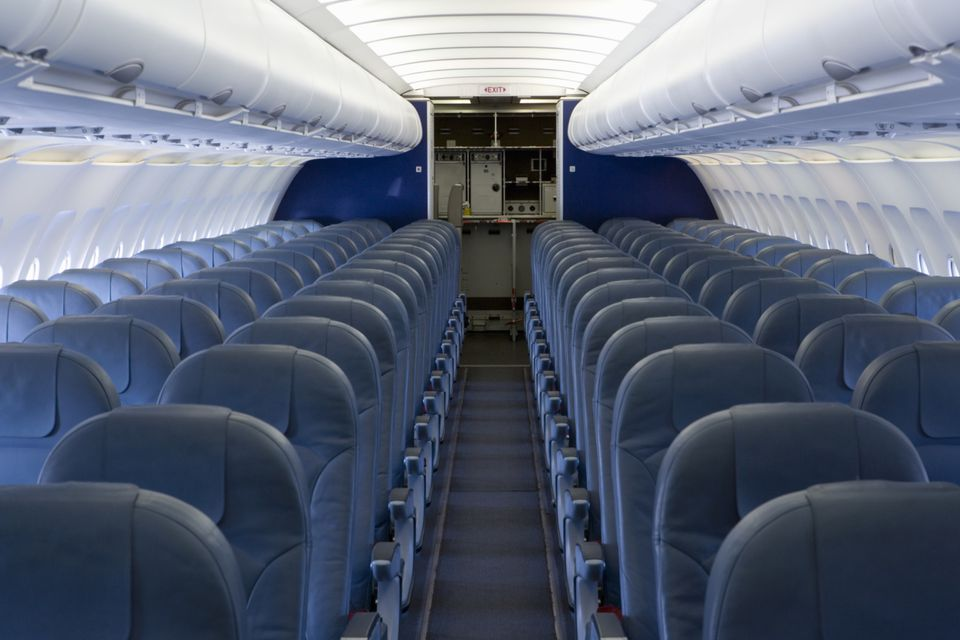 Interior airplane cabin, empty