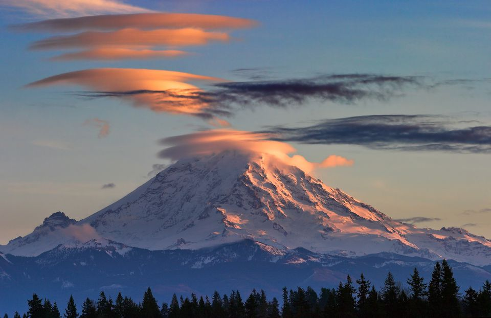 Lenticular Clouds Over Mt Rainier at Sunset
