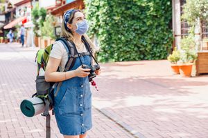 tourist Young woman wearing medical mask