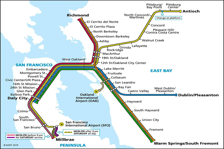 Mapa BART del área de San Francisco