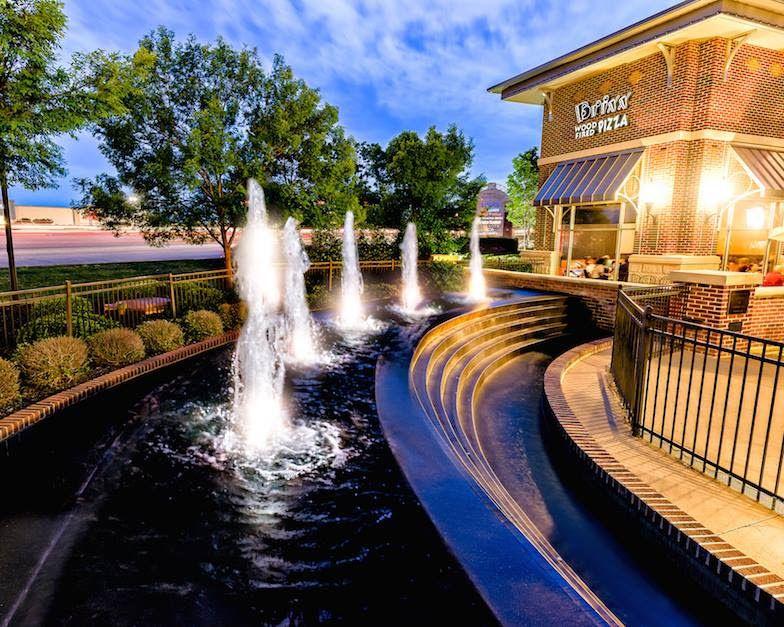 fountain at an outdoor shopping center