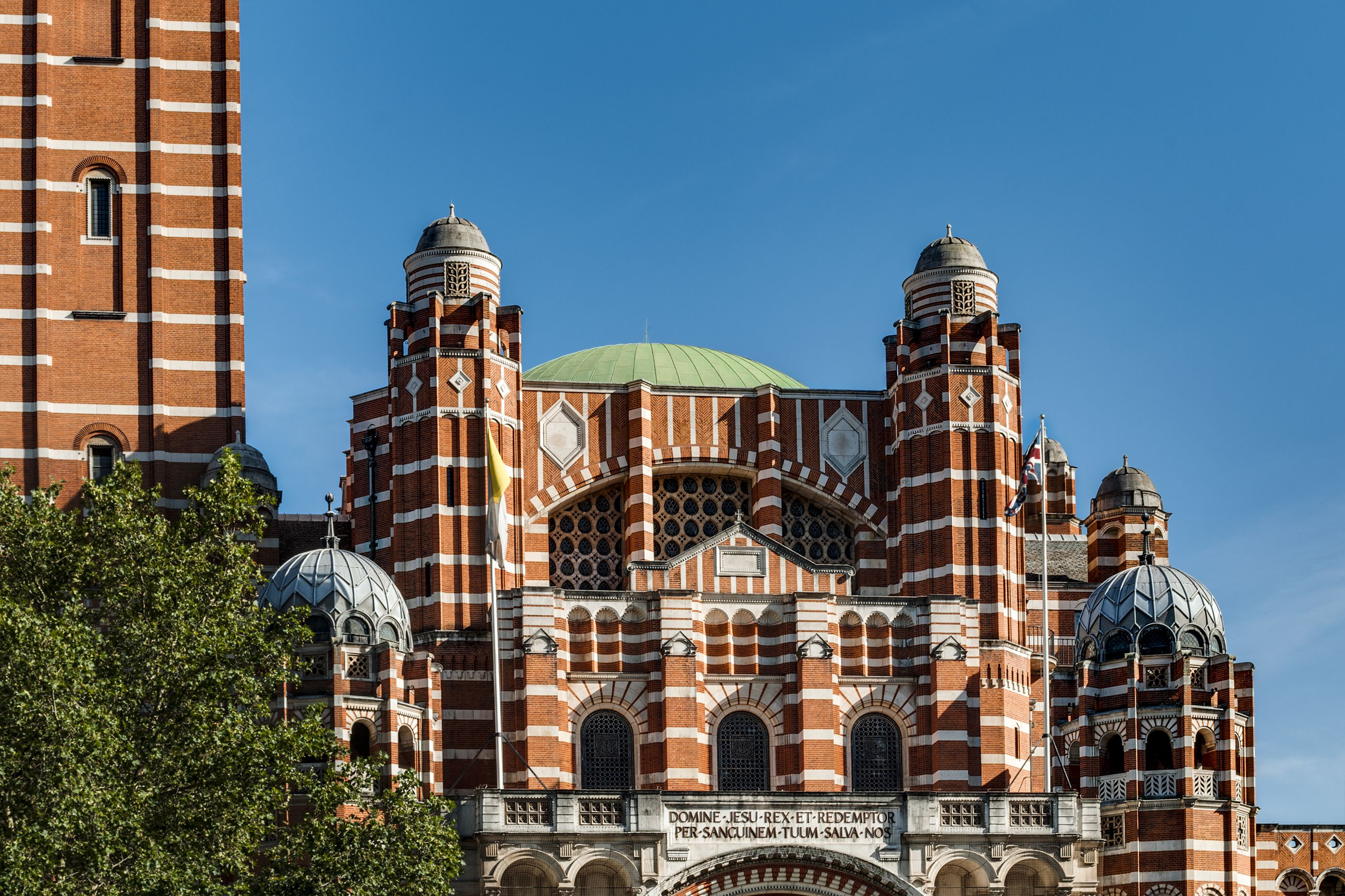 Catholic Church and London landmarks concept with Westminster Cathedral a neo Byzantine style cathedral in London, United Kingdom