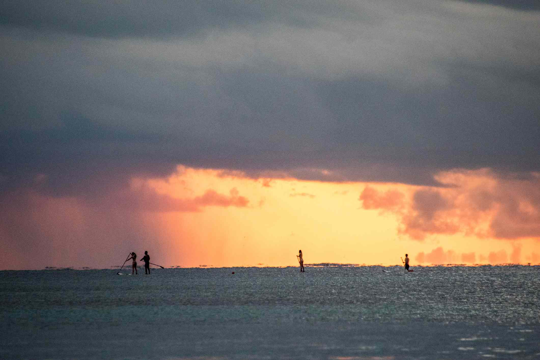 Paddle boarders at sunrise