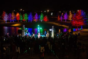 A band performing in front of colorful Christmas lights at Vitruvian Lights