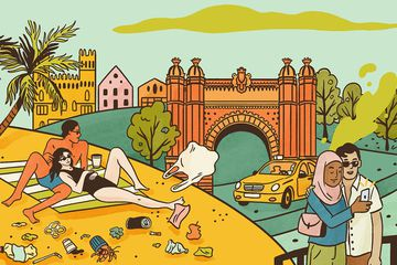 Illustration showing tourists littering
