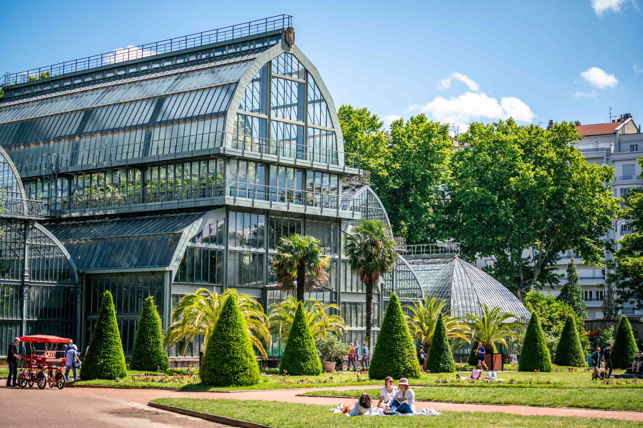 View of the Grande Serres or large greenhouse of the Parc de la Tete d'or garden in Lyon France