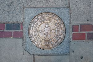 A plaque marking the Boston Freedom Trail