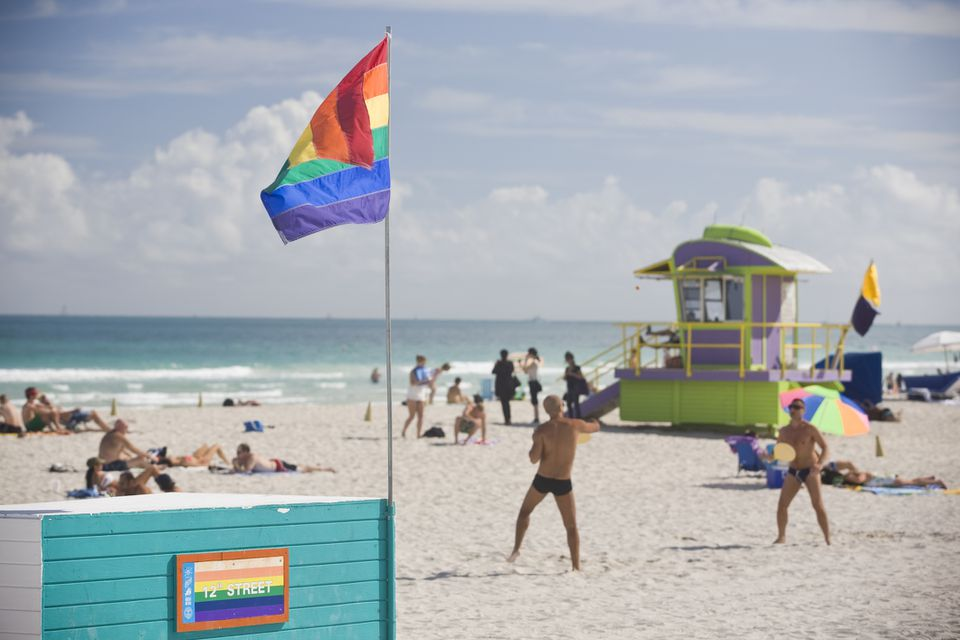 Rainbow Flag in Miami Beach at 12 th. street
