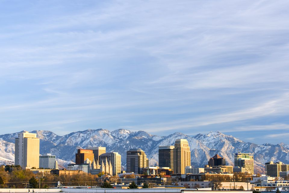 Salt Lake City with Snow Capped Mountain