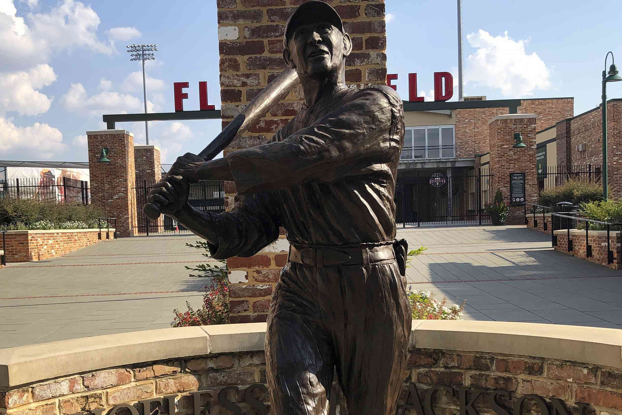 bronze statue of the baseball player Shoeless Joe
