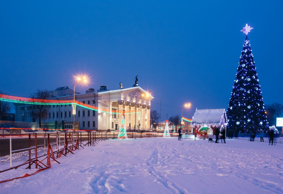 Area of the Dobrush, Belarus with Christmas decorations and a Christmas tree