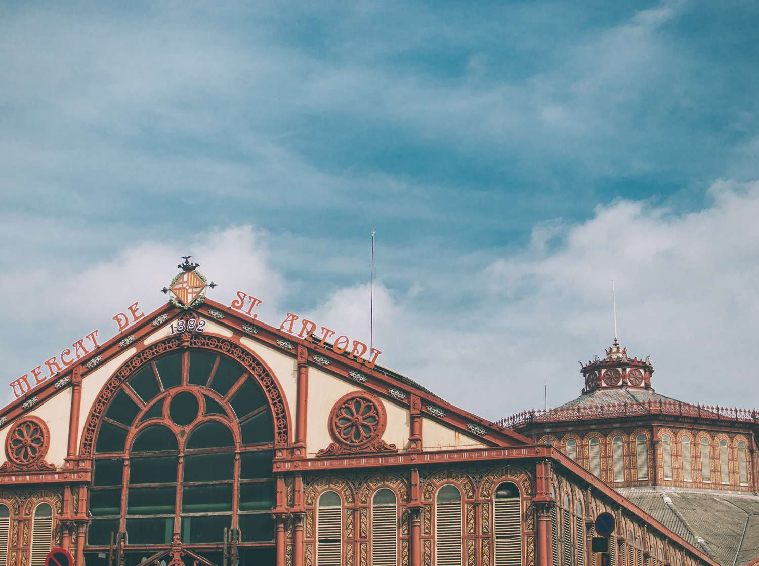 Exterior of the newly renovated Sant Antoni market in Barcelona.