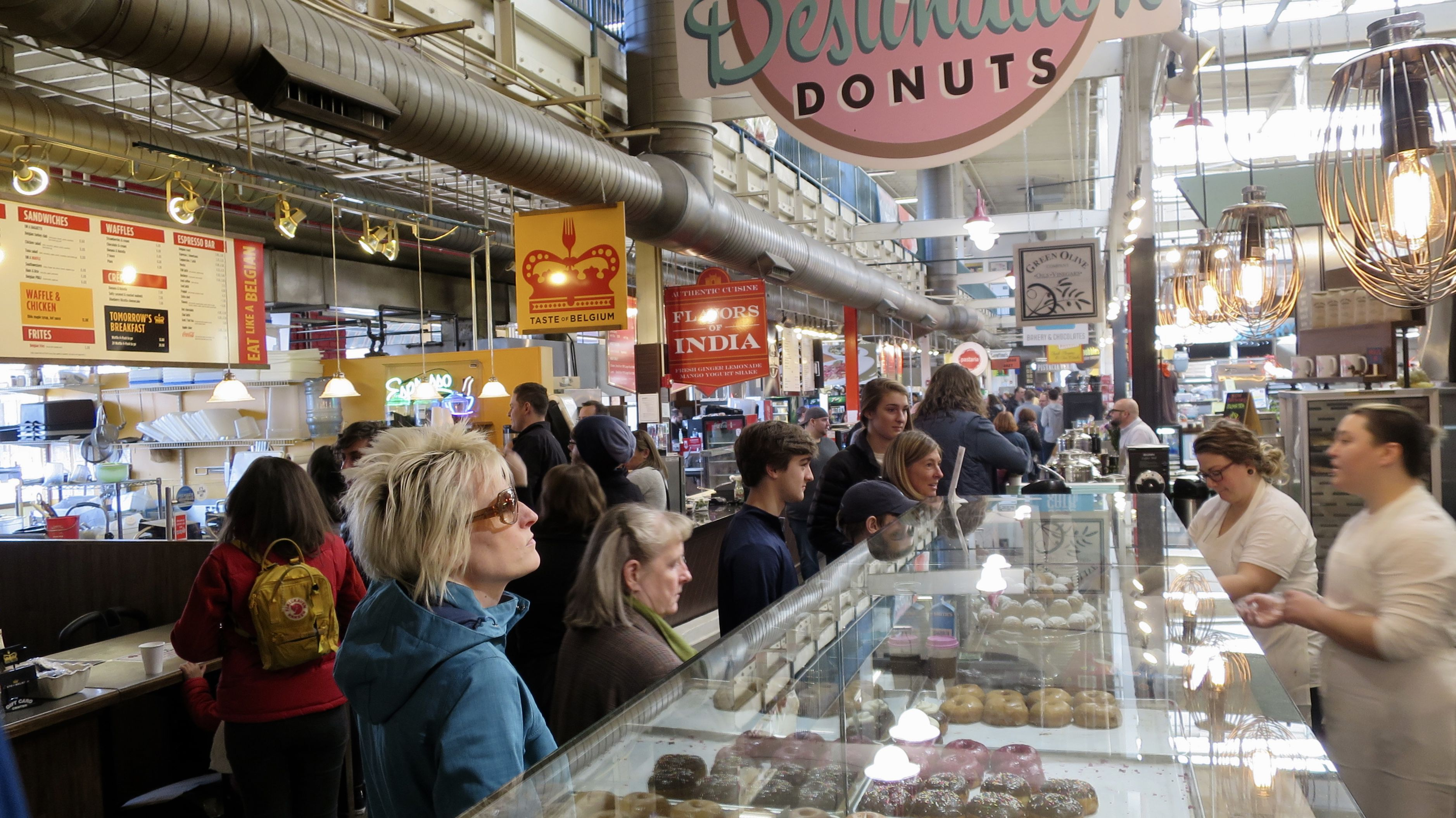 Shoppers at North Market in Downtown Columbus Ohio