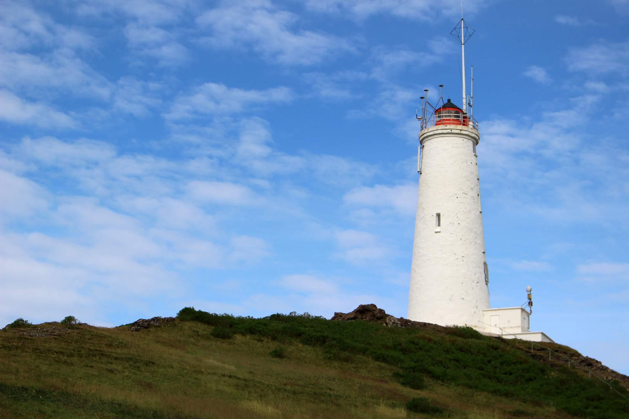 View of Reykjanes Lighthouse (Reykjanesviti), Iceland's oldest lighthouse.