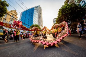 Chinese dragon dancing in Ho Chi Minh City, Vietnam
