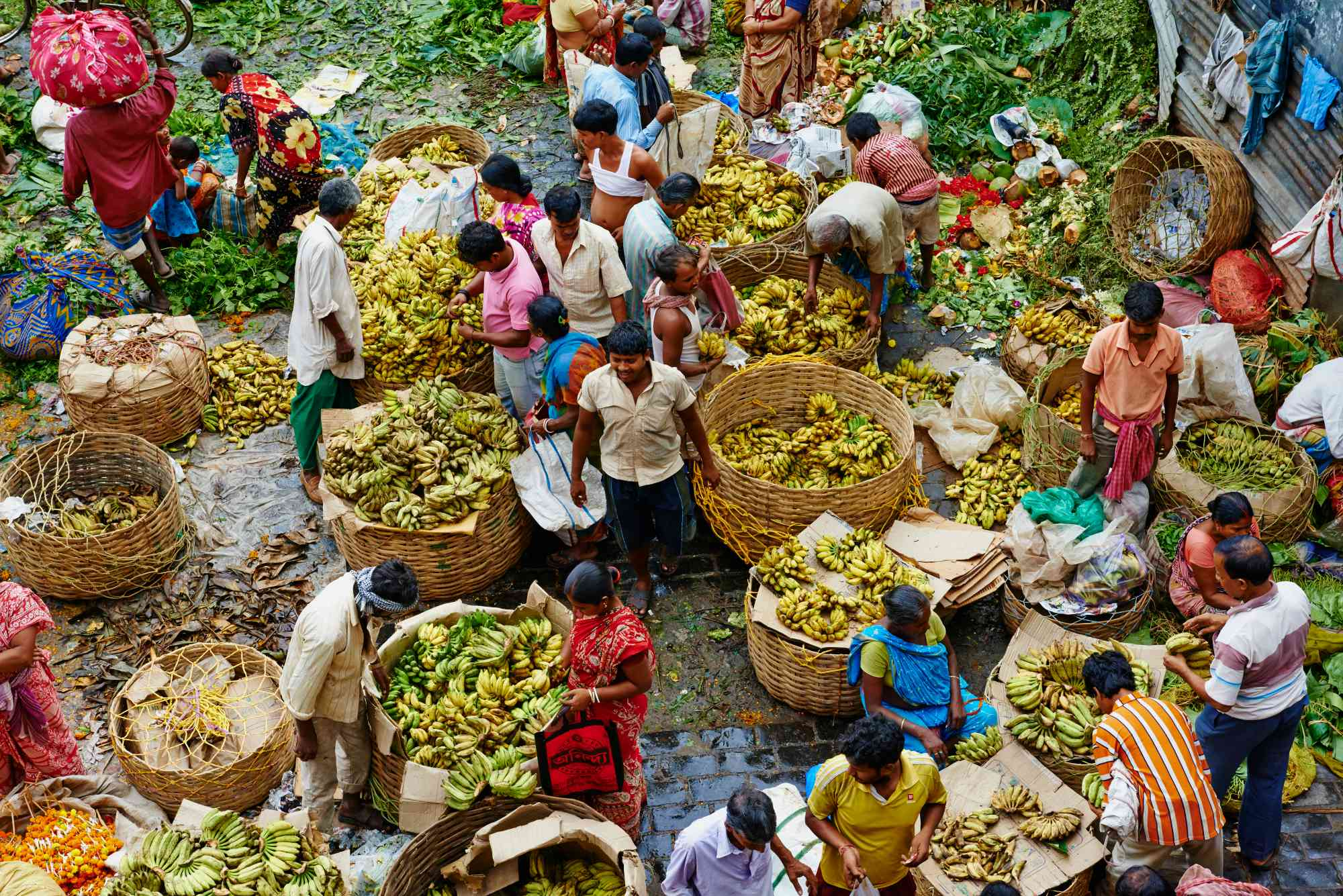 Kolkata banana market.