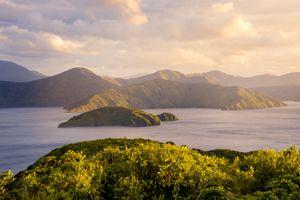 sea and green islands at sunrise