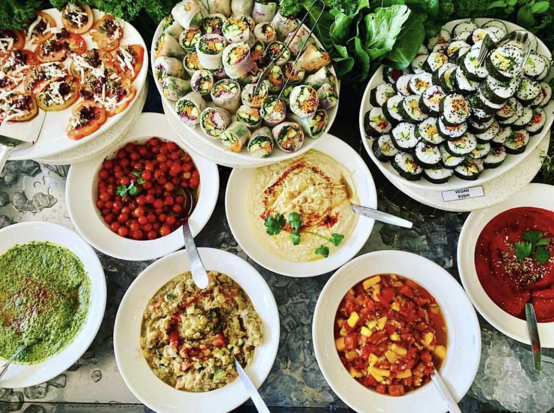 Vegan spread at Leafy Greens Café, Muldersdrift