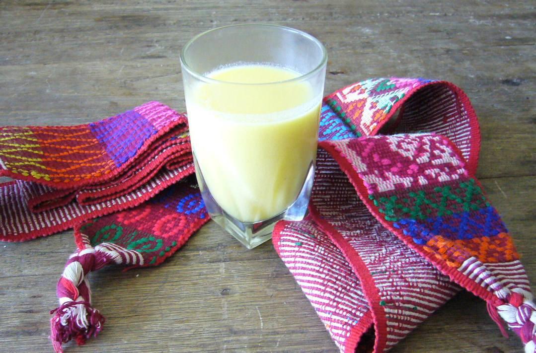 A glass of atole de elote