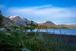 View of the shore and mountains in Sitka, Alaska