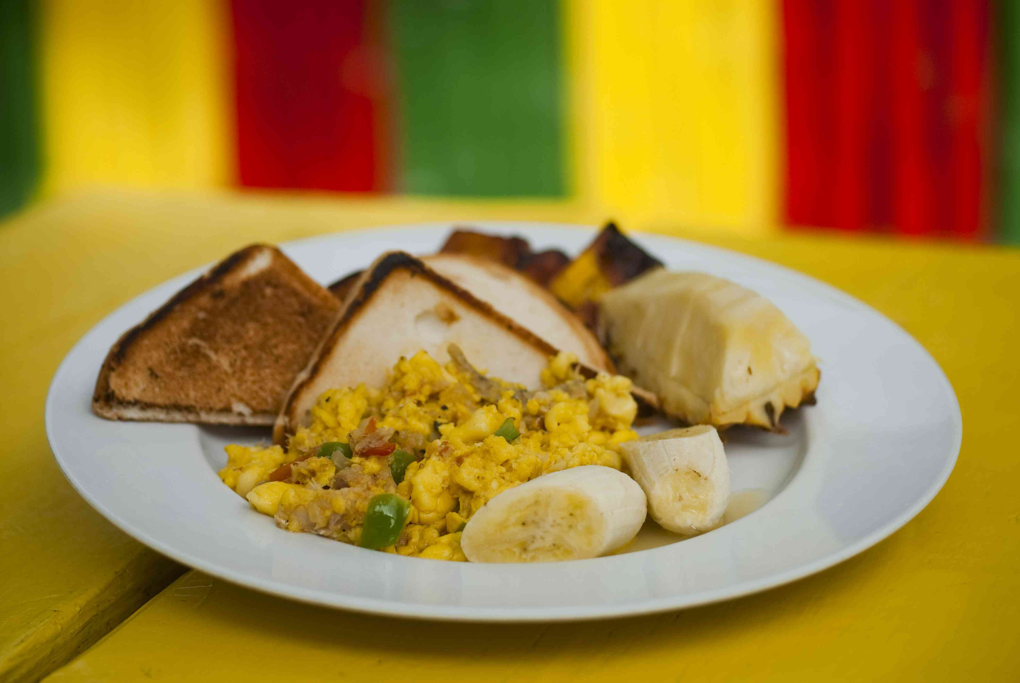 Ackee & Saltfish breakfast at Alice's Restaurant in West End